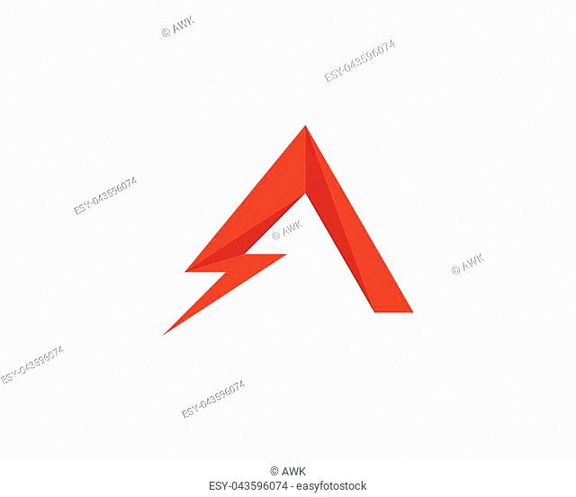 A Letter Lightning Logo Template vector icon illustration design