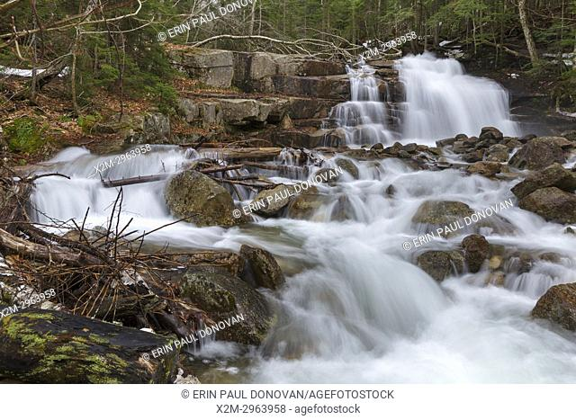 Stairs Falls along Dry Brook in Franconia Notch State Park of the New Hampshire White Mountains during the spring months