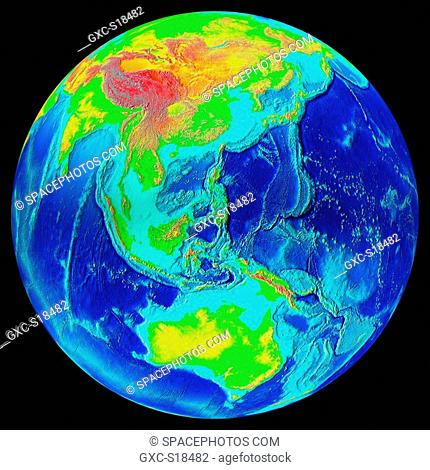 Earth in Space, one can see China, Russia, Indonesia, the Pacific Ocean, Australia, the Indian Ocean. The marine and terrestrial reliefs are highlighted by the...