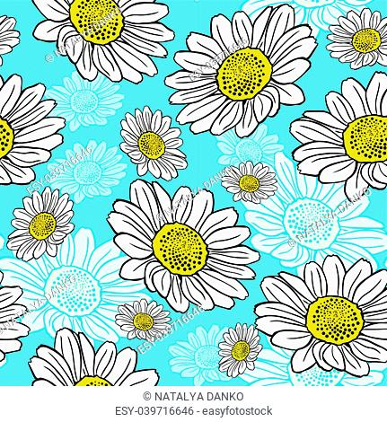 blossoming white daisies on a blue background, seamless pattern