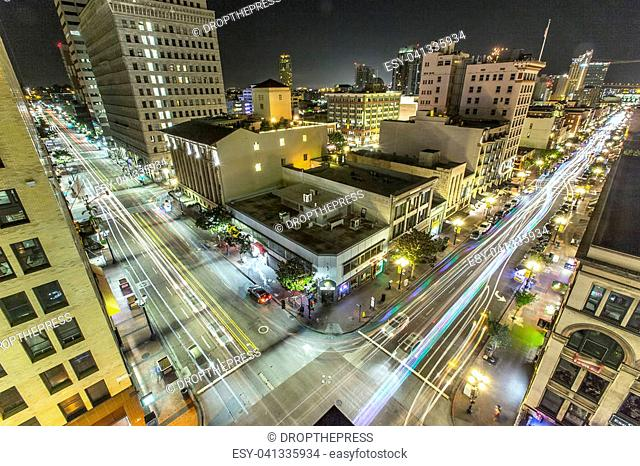Downtown views of Gaslamp District long exposure
