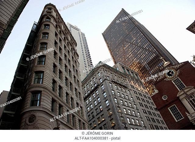 Historic buildings and modern skyscrapers in Boston, Massachuesetts, USA