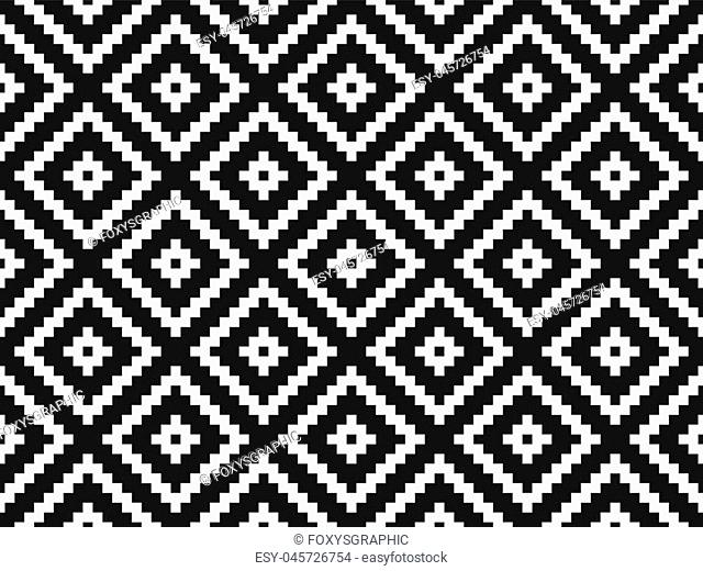 Seamless modern stylish texture and pattern. White repeating geometric tiles with dotted rhombus on a black background. Vector illustration