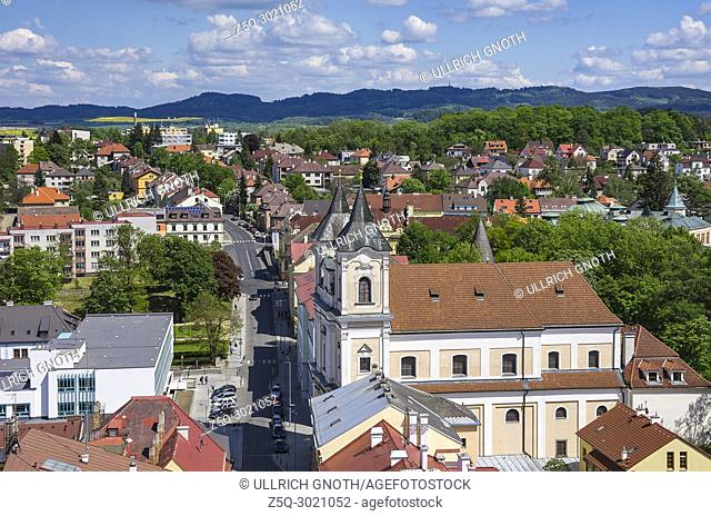 Klatovy, Czech Republic - view over the Old Town and the Dominican Monastery Church of St. Lawrence
