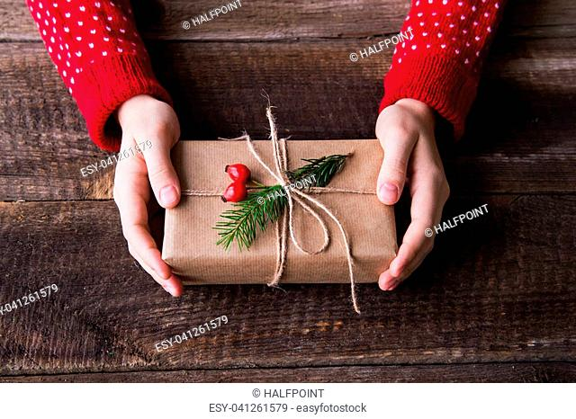 Christmas composition on a vintage wooden background. Flat lay. Close up