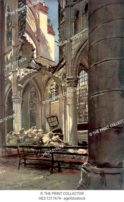 Interior of the Ruins of Saint Jean des Vignes Abbey, Soissons', France, 18 May 1915, (1926). Damage to the 11th century abbey sustained during the First World...