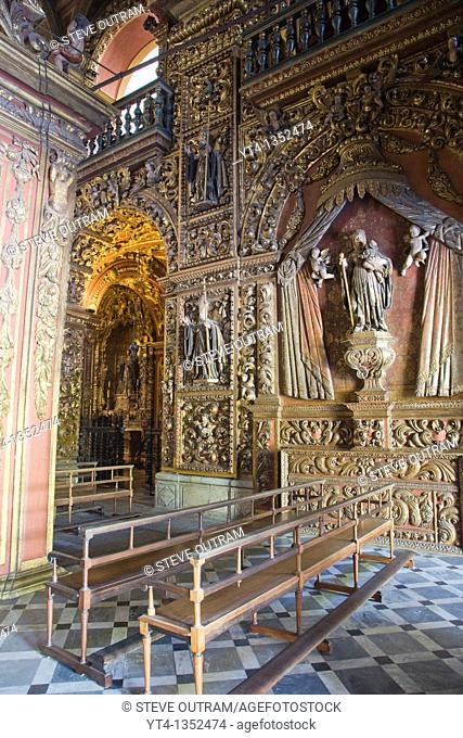 The ornate interior of The Sao Bento Monastery, Rio de Janeiro, Brazil