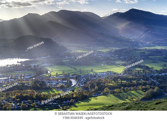 Keswick and Derwentwater seen from Latrigg summit, Lake District National Park, Cumbria, England, United Kingdom, Europe