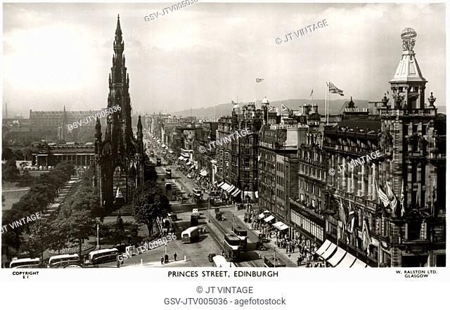 Princes Street, Edinburgh, Scotland, United Kingdom, Postcard circa 1950