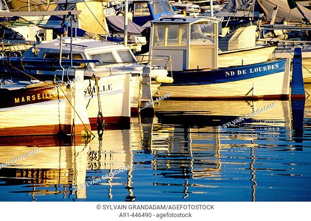 Vallon des Auffes small fishermen harbour, Marseille. Bouches-du-Rhône, France
