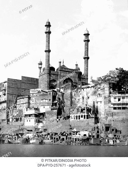 old vintage lantern slide of alamgir mosque, Varanasi, uttar pradesh, India, Asia