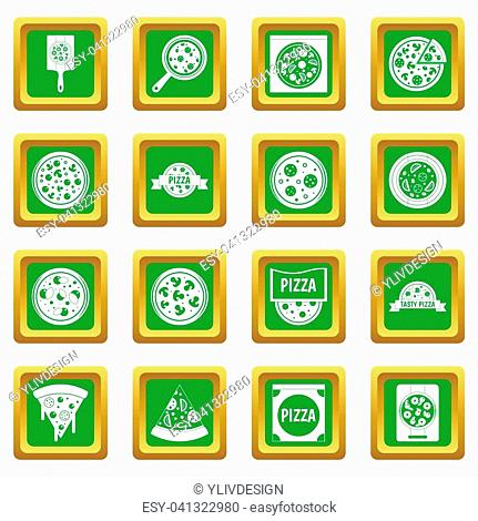 Pizza icons set in green color isolated illustration for web and any design
