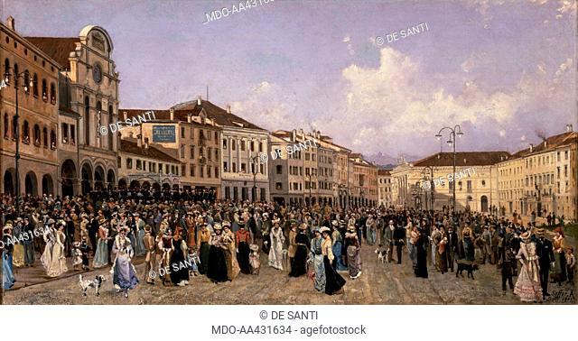Marching Band Concert in Campitello Square, by Alessandro Seffer, 1901, 20th Century, oil on canvas. Italy, Veneto, Belluno, Civic Museum