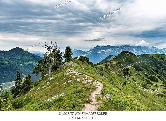 Hiking trail on ridge, mountains, Schladming Tauern, Schladming, Styria, Austria