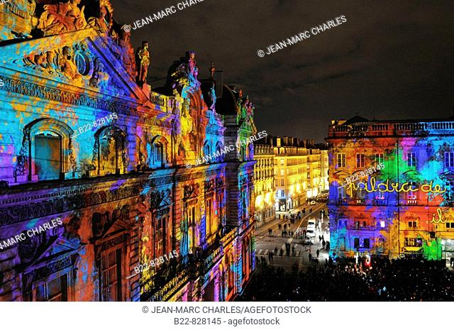 Lyon's Festival of Lights is a four-day event where contemporary light installations illuminate the city (December 8th, 2008)