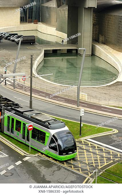 Tram passing in front of the Guggenheim Museum, Bilbao, Biscay, Basque Country, Spain