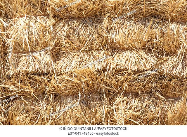 pattern background with pile of dry hay or straw bales