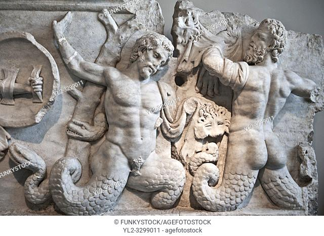 2nd Cent. AD Roman relief sculpture depicting the struggle of Athena ( the goddess of wisdom, skill & warfare) fighting the Gigantes ( Giants)