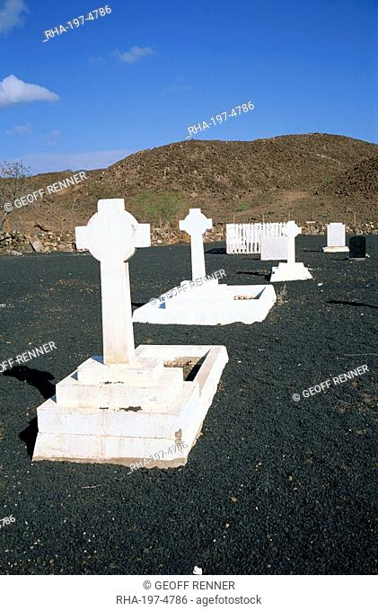 White crosses on graves in the cemetery in Georgetown on Ascension Island, mid Atlantic