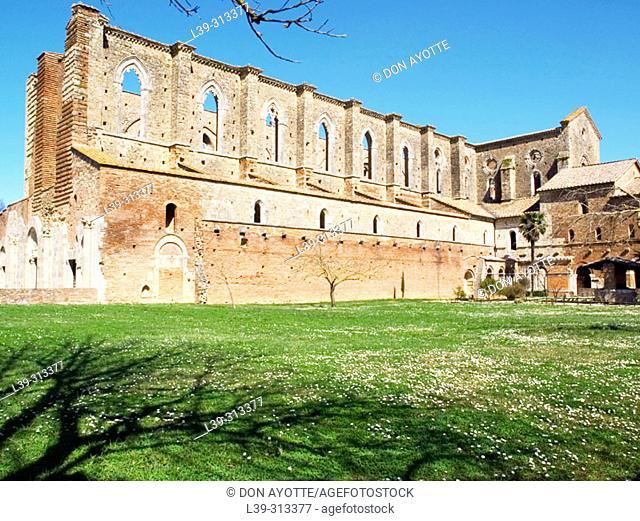 Ruins of the Gothic abbey of San Galgano. Siena. Tuscany, Italy