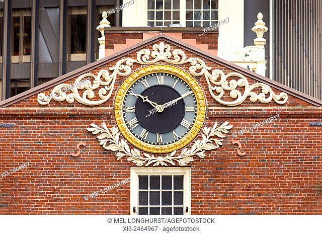 Clock on east facade of Old State House, State Street, Boston, Massachusetts, USA