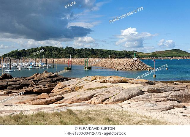View of coast with boats moored at marina, Trebeurden, Cotes-d'Armor, Brittany, France, September