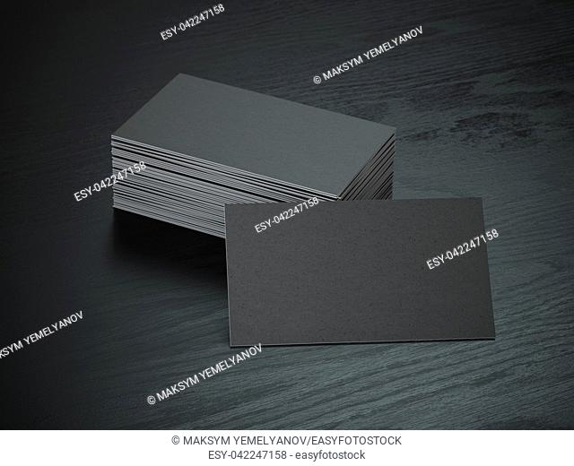 Black blank business cards mockup on black wood table background, 3d illustration