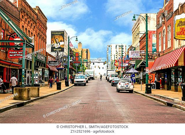 View of Beale Street in downtown Memphis, quiet by day, alive and kicking by night