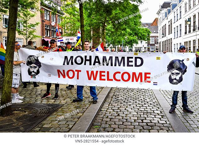 BREDA - THE NETHERLANDS - JUNE 18: Pegida is demonstrating against Islamization and the advent of economic refugees on June 18, 2016 in Breda, The Netherlands