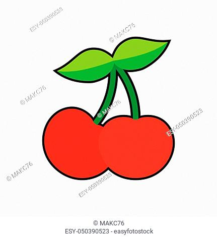 Two red cherry. Cherry icon. sweet cherries. Vector illustration, isolated on white background
