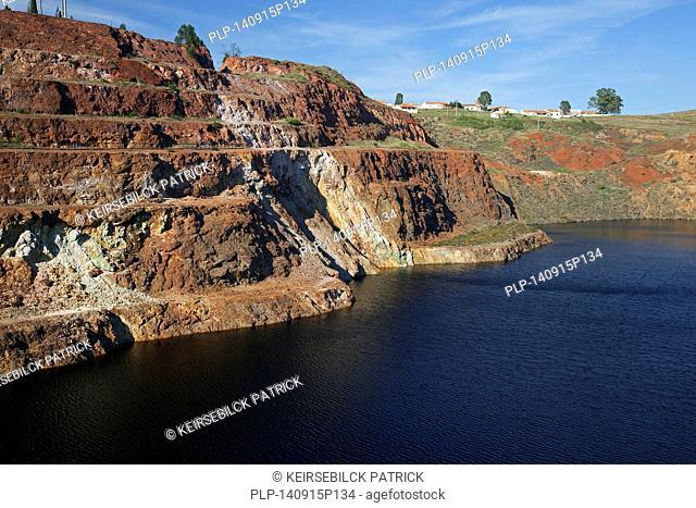 Abandoned open-pit copper mine Mina de São Domingos / San Domingo Mine near Mertola, Beja District, Alentejo, Portugal