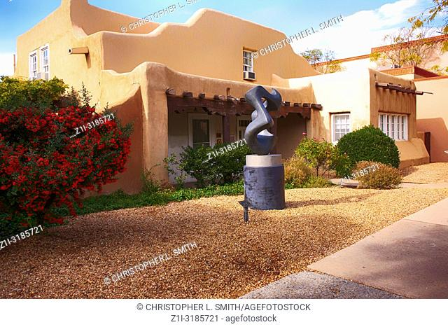 The Museum of New Mexico Art Foundation on Lincoln Ave in downtown Santa Fe, New Mexico USA