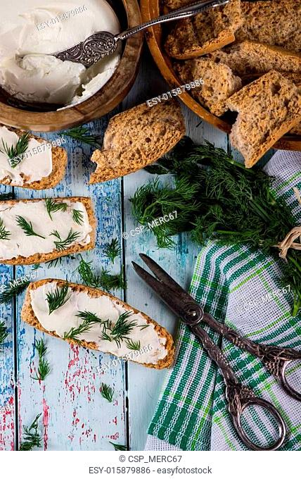 Spring freshly clipped dill with soft cheese