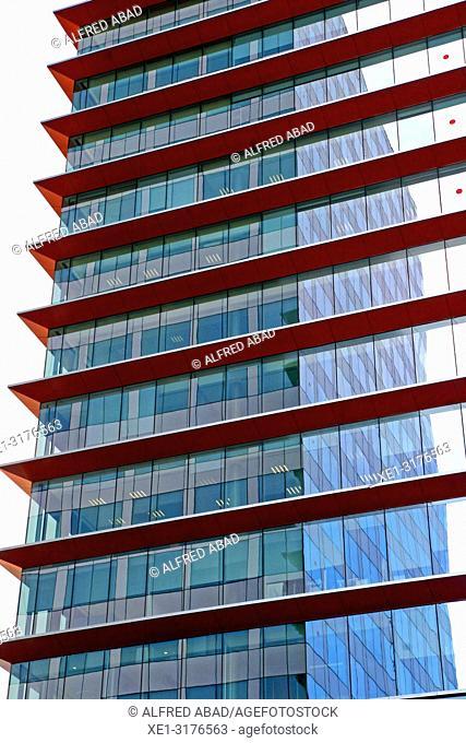 Auditori tower and Marina tower, Zona Franca, Barcelona, Catalonia, Spain