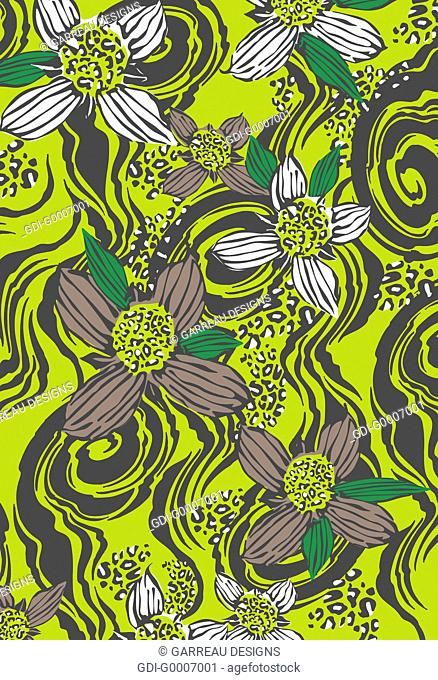 Tropical flowers on lime green background
