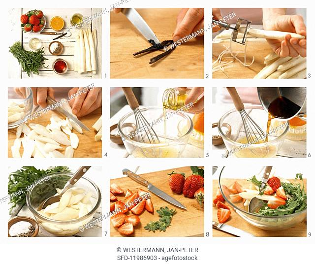 How to prepare asparagus & rocket salad with strawberries and vanilla