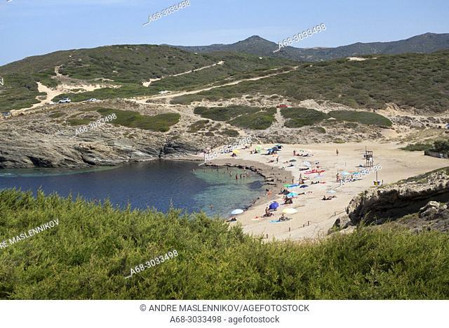 The beach PORTO PALMAS in Sardinia, Italy