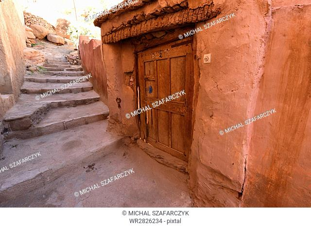 Old Berber houses and narrow streets in a village of Aguerd Oudad, Tafraoute, Morocco, North Africa, Africa