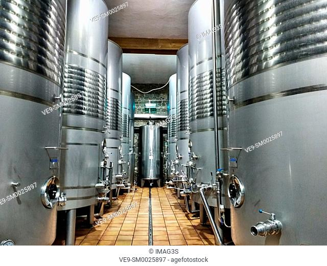 Metal vats on Via Romana wine factory, Ribeira Sacra. Beselar, Lugo, Spain