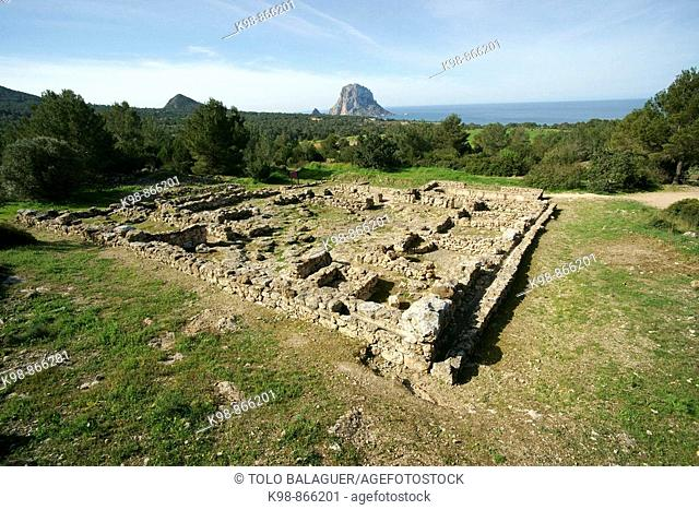 Punic remains, Ses Païsses archeological site (5th century BC-7th century AD), Cala d'Hort. Ibiza, Balearic Islands. Spain