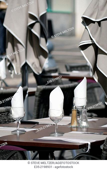 A restaurant table awaits customers