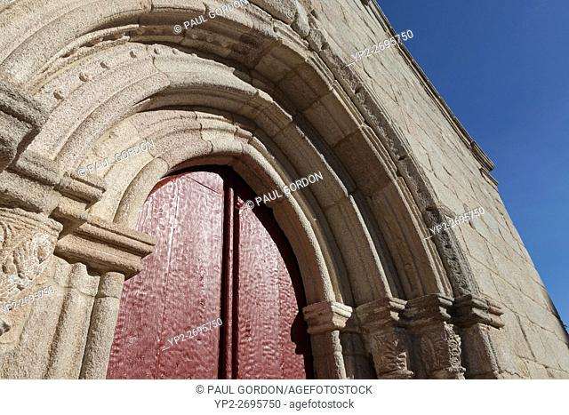 Galicia, Spain: Door detail of Iglesia San Salvador. The 13th century early Gothic church along Rúa Maior on the Camino Francés is also known as O Salvador
