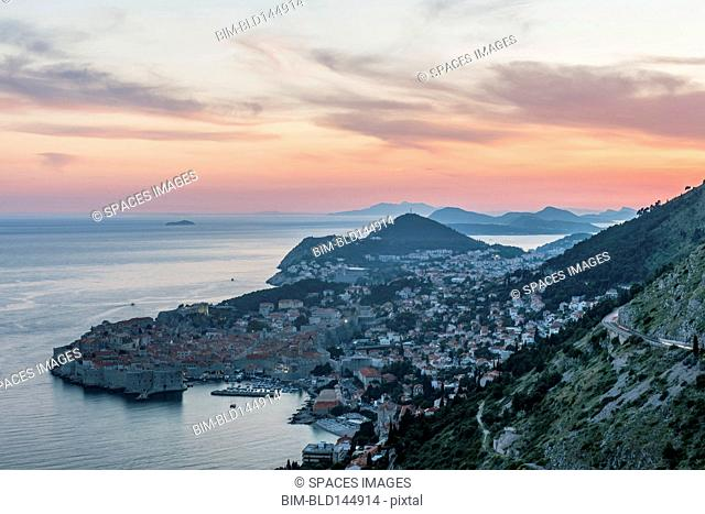 Aerial view of coastal city on hillside, Dubrovnik, Dubrovnik-Neretva, Croatia