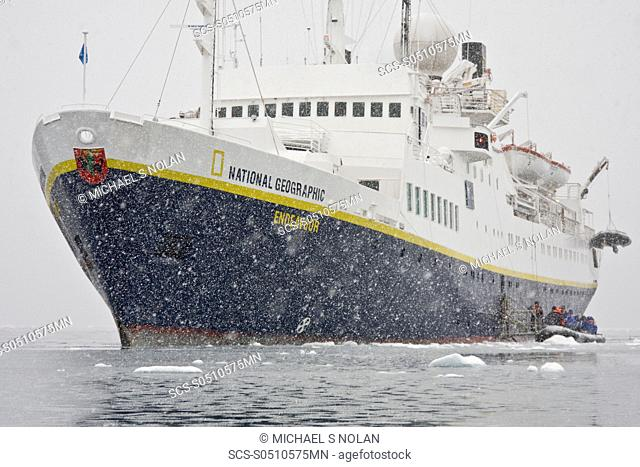The Lindblad Expedition ship National Geographic Endeavour operating in and around the Antarctic peninsula in Antarctica Lindblad Expeditions pioneered...