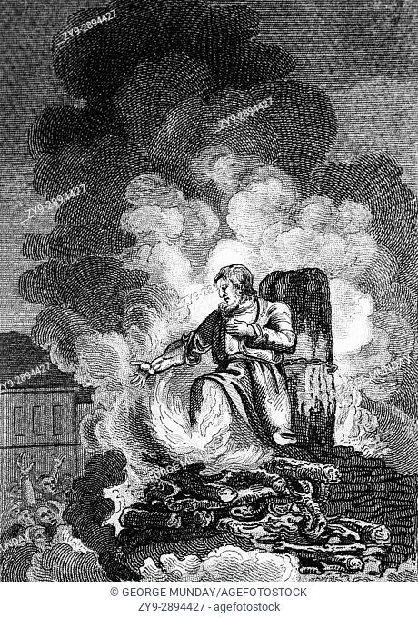 A priest burning at the stake in Smithfield, London, during the Marian Persecution when nearly three hundred Protestants around the country died for their faith