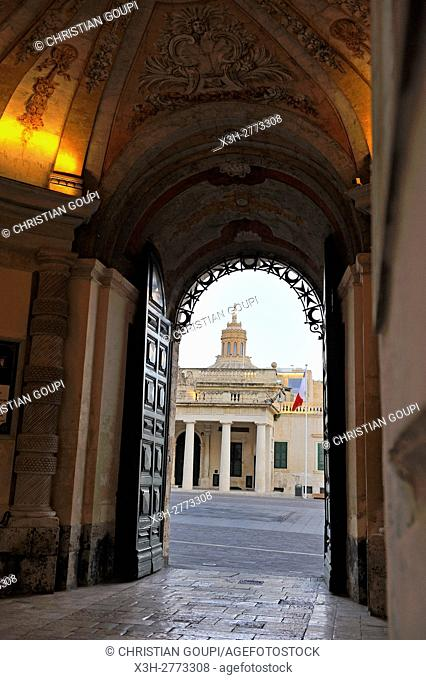 Main Guard building seen from the gate entrance of Grandmaster's Palace, Valletta, Malta, Southern Europe