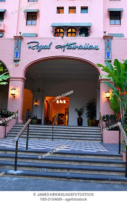 The Royal Hawaiian Hotel, just steps from the sands of Waikiki Beach, has been welcoming guests since 1927