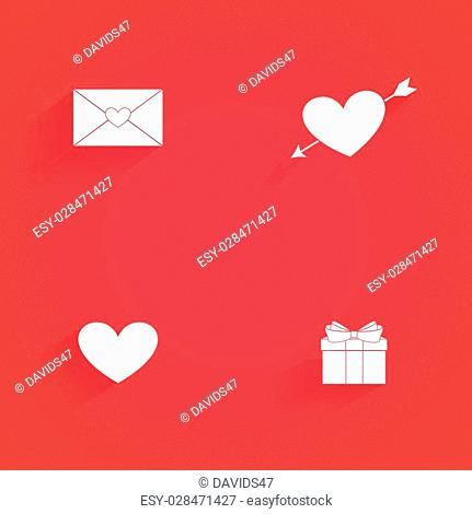 Set of love icons on a red background