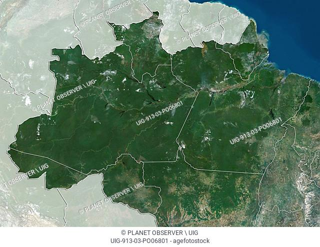 Satellite view of the North Region of Brazil (with administrative boundaries and mask). It is composed of the states of Acre, Amapa, Amazonas, Para, Rondonia