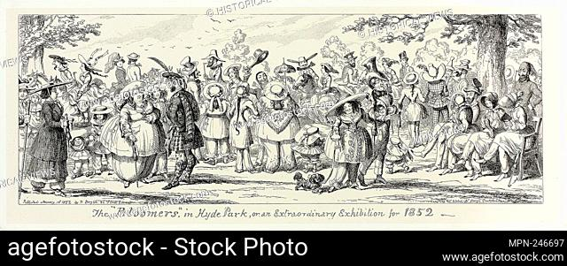 """The """"""""Bloomers"""""""" in Hyde Park, or an Extraordinary Exhibition for 1852 from George Cruikshank's Steel Etchings to The Comic Almanacks: 1835-1853 - 1852"""